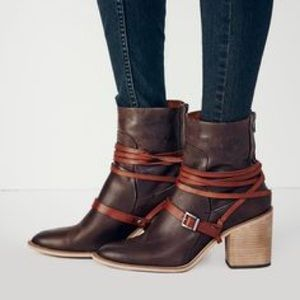 Free People Dawn Point Leather Block Heel Boots